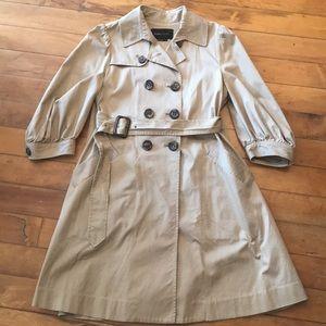 BCBGmaxazria khaki trench coat with puffed sleeves